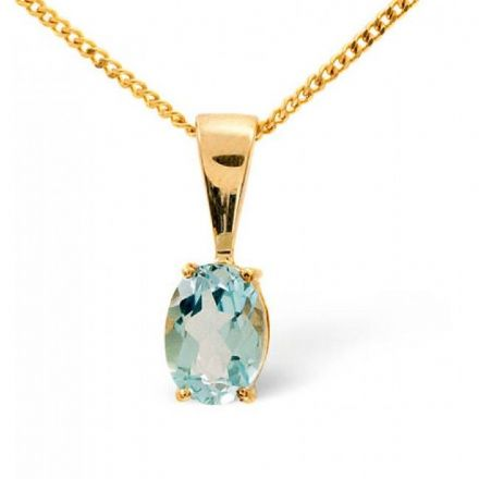 9K Gold 7mm x 5mm Blue Topaz Pendant, Z1078